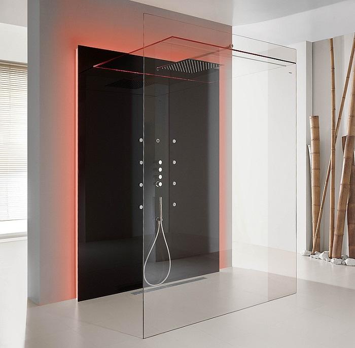 nowoczesna kabina prysznicowa bez brodzika