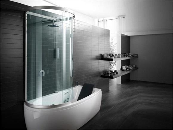 wanna z zamontowaną kabiną prysznicową