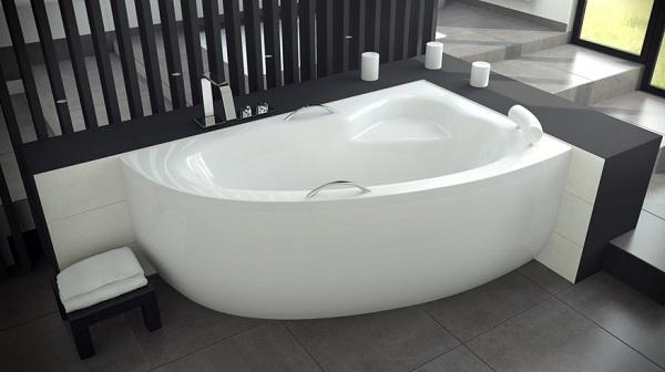 wanna asymetryczna Besco Natalia 150, rozmiar 150x100, pojemność 155 litrów, na zdjęciu wersja prawa