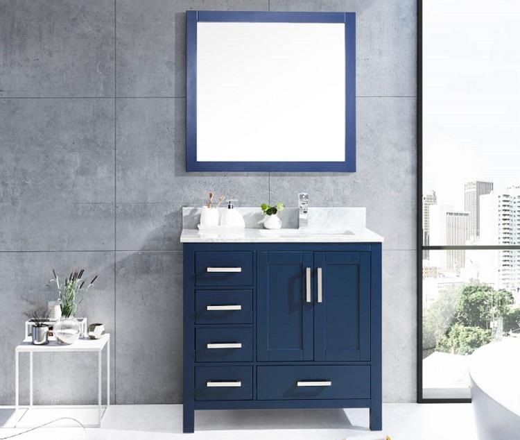 nowoczesna szafka łazienkowa z umywalką wpuszczaną w blat