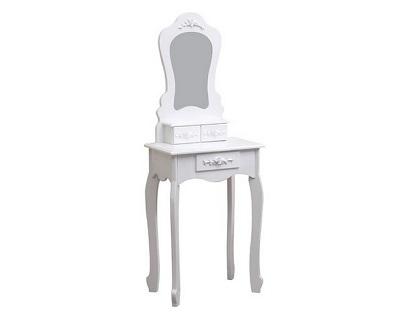 biała toaletka kosmetyczna Mirella z wbudowanym lustrem łazienkowym, w zestawie z taboretem